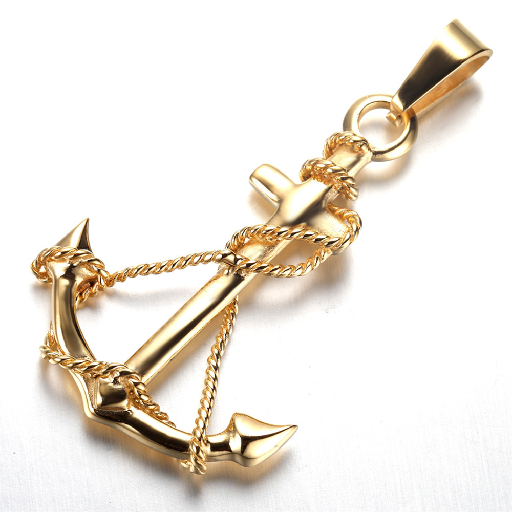 mens biker stainless steel pendant necklace anchor