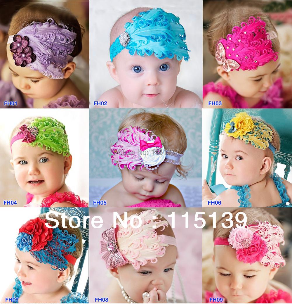 1pcs/lot free shipping Beautiful Feather Headband hairband Baby Kids Infant Headbands Head Children Accessories Baby(China (Mainland))