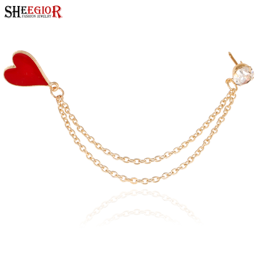 Gold chain poker Brooches for women rhinestone collar broches jewelry fashion lapel pin spade hearts clubs jewelry Accessories(China (Mainland))