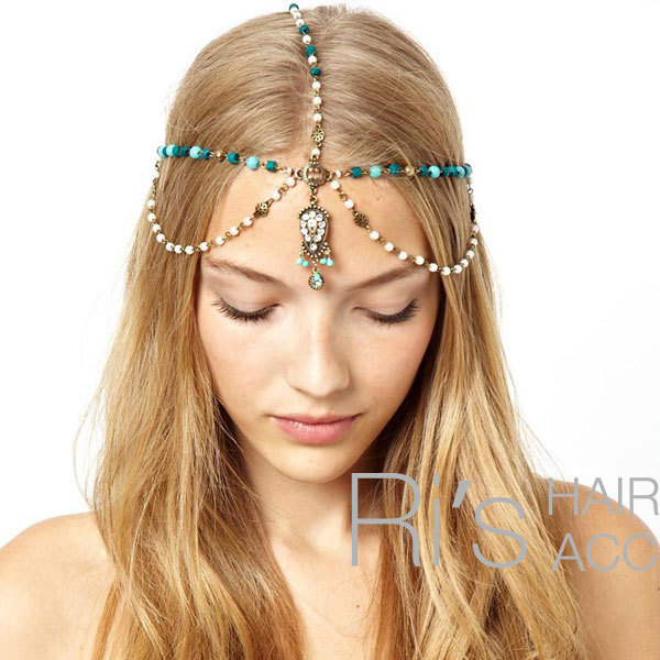 RETAIL Pearl blue stone headbands for women vintage hair accessories for women(China (Mainland))