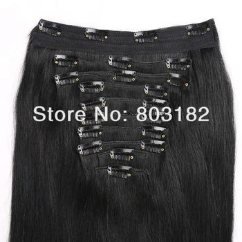 "Yotchoi 14""-24"" clip in human hair extensions 10pcs wefts clip in sets 1B# natural black colour human hair straight 140g-220g"
