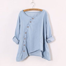 2015 ladies casual blouse New Women Shirt Denim Slant Oblique Button Irregular Plus Size Roll Up Sleeve Wash Solid Pocket Loose(China (Mainland))