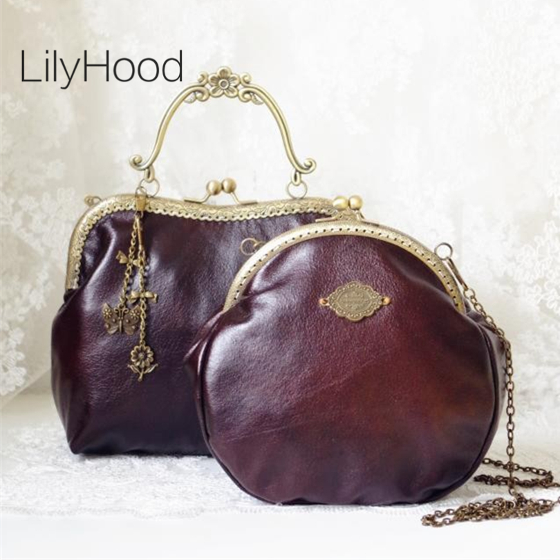 LilyHood 2017 Women Victorian Shoulder Bag Handmade Etsy Vintage Retro Chic Brown Frame Chain PU Leather Kiss Lock Funky Bag(China (Mainland))