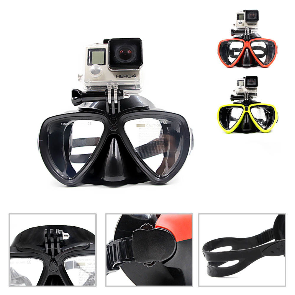 2016Newest Diving Mask with detachable camera mount to Gopro,xiaomi SJ CAMERAS Tempered lens scuba mask black silicone dive mask(China (Mainland))