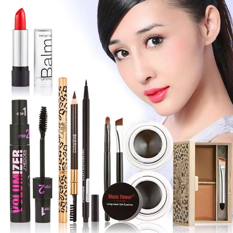 Hot Makeup Set Eyeshadow Palette Eyelashes Brush Mascara Eyeliner Pen F#OS(China (Mainland))