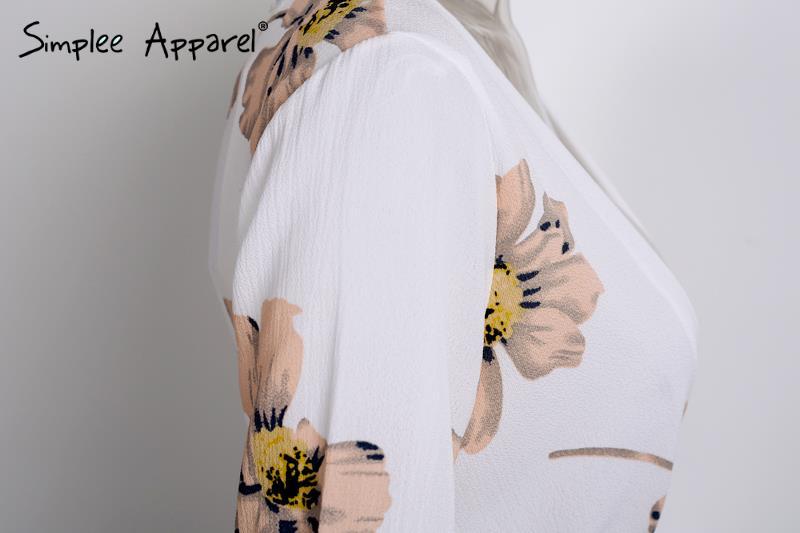 Simplee Одежда Лето стиль beach шифон элегантный комбинезон комбинезон Boho цветочным принтом белый ovaralls Сексуальная v шеи женщины playsuit