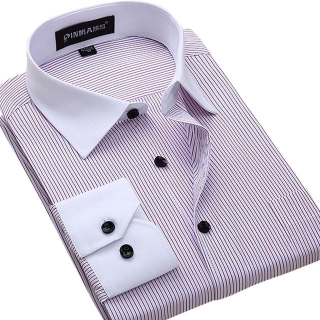 Большой Размер 4XL 5XL 6XL Моды Белый Воротник Полосатый Мужчины рубашки Марка Дизайн ...