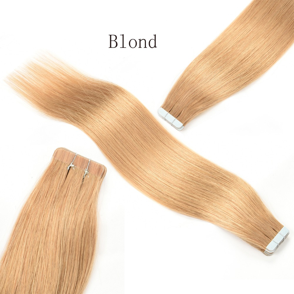 Tape In Human Hair Extensions 20pcs Brazilian Human Hair Skin Weft Tape Hair Extensions Adhesive Seamless Tape In Hair Extension(China (Mainland))