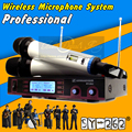 Free Shipping Dual Handheld UHF Wireless Microphone System Professional Stage KTV Karaoke Mic Mike Microfone Sem