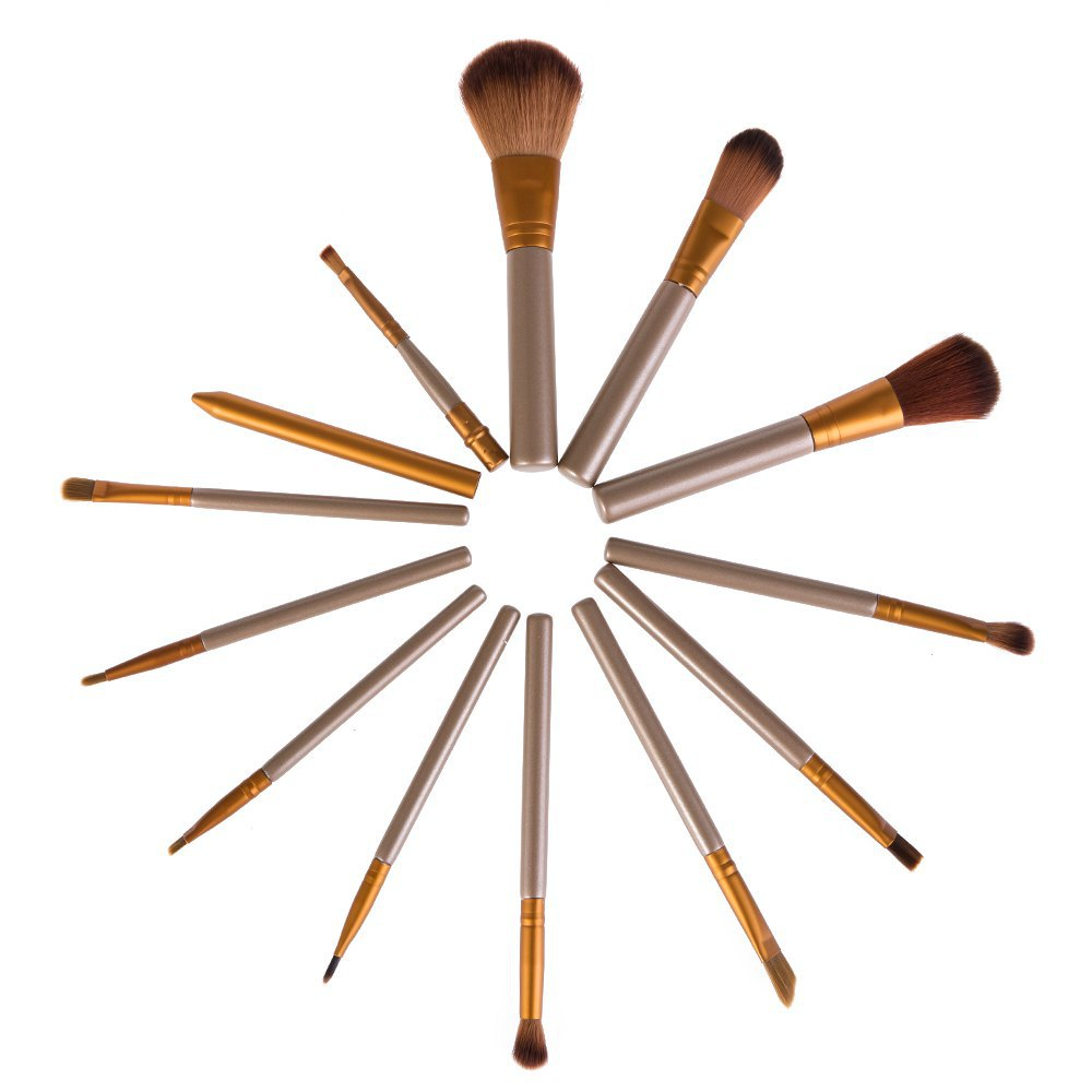 12 Pcs /Lot Professional Makeup Brush Set Cmestic Makeup Brushes Foundation Beauty Make Up Brushes with Pure Color Pouch(China (Mainland))