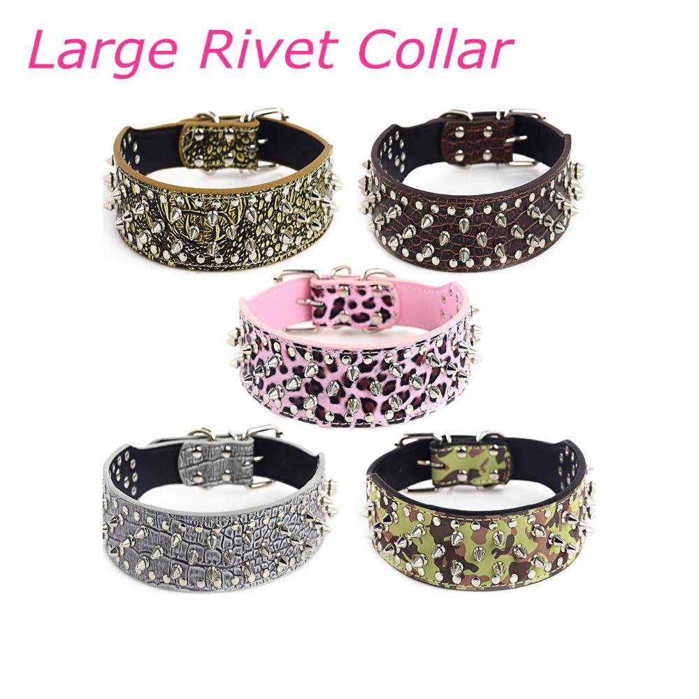 Pet Supplies Hot Sell Big Dogs Collar Fashion Bulldog Rivet PU Leather Dog Cat Harness and Leashes 5 Pattern Bulldog Needs(China (Mainland))