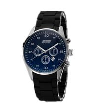 Nuevos hombres de silicona + aleación correa de reloj de cuarzo tres pequeño dial decoración marca skmei calendario reloj grande del dial del reloj logo informal