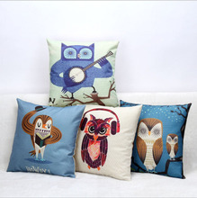 Buy 45cm*45cm Music owl linen/cotton pillow covers sofa pillow case car seat cushion cover decorative pillows for $2.90 in AliExpress store