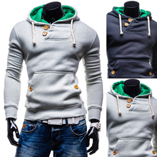 2015 Men's Slim Pullover Hoodies Double Pocket Long Sleeve Casual Sudaderas Solid Cotton Hoodies Men Size M-XXL Free Shipping(China (Mainland))