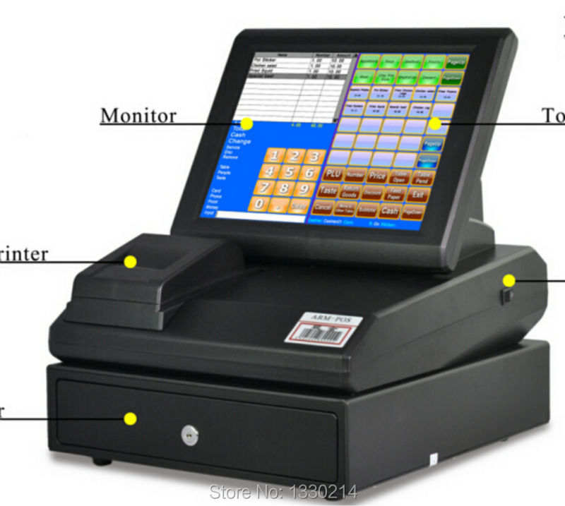 "12"" High Quality Touch Screen Pos System Restaurant Equipment cash registers(China (Mainland))"