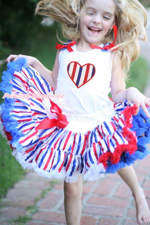 4th July Patriotic RWB Stripe Heart Skirt White Top Shirt Girl Clothing Set 1-8Y MAPSA0624(Hong Kong)