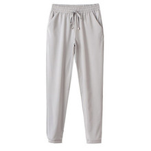 2016 Hot Sale Women Trousers High Quality Chiffon Pants Casual Slim Drawstring Waist Pants Summer Spring White /Pink Women Pants(China (Mainland))