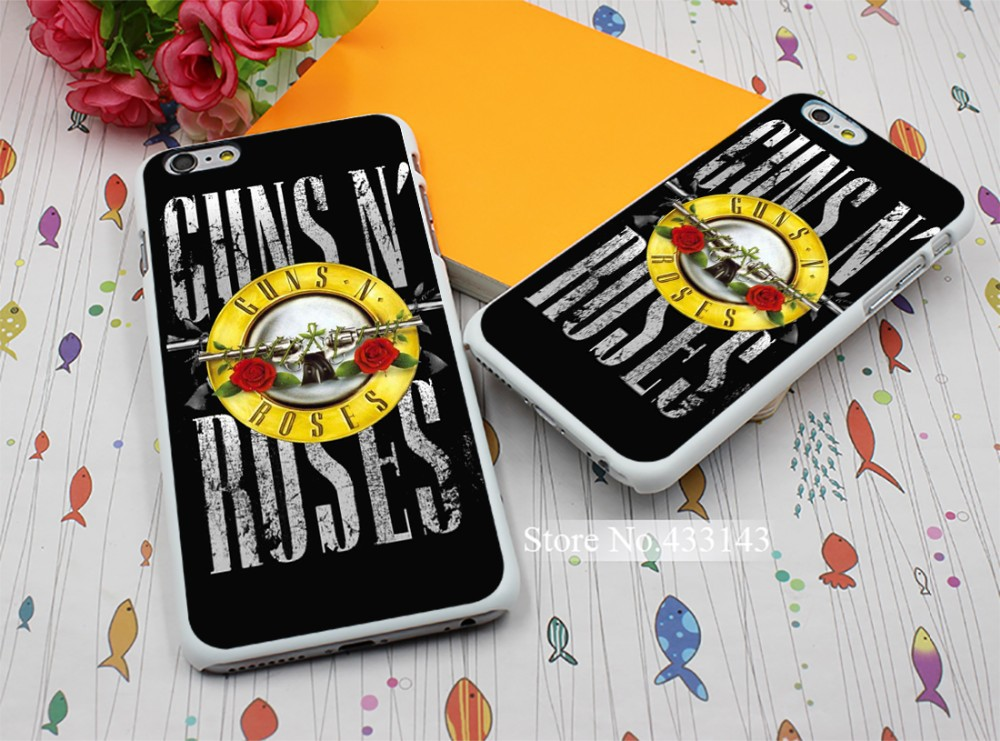 Nice handle Guns n Roses Design White Skin Cover Back Case for iPhone 6 6s 6 plus