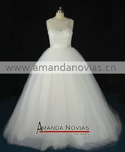 Steaps pearls puffy a-line plus size wedding dress(China (Mainland))