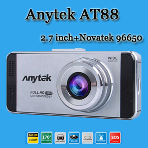 "Original Anytek AT88 Car DVR Dual Lens Car Camera Video Recorder 2.7"" Novatek 96650 WDR Full HD DVR G-sensor 6GA Glass Lens(China (Mainland))"
