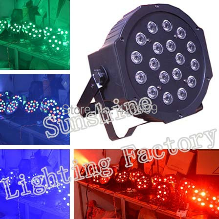 Hot selling 18 RGB led flat par light Professional Stage Light Party KTV Disco 1m dmx signal cable free - Guangzhou Sunshine Lighting Equipment Factory store