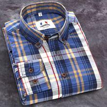 Langmeng Новинка 2017 Осень Весна мужские повседневные рубашки в клетку длинный рукав 100% хлопок платье рубашка мужская Ретро стиль camiseta masculina(China)