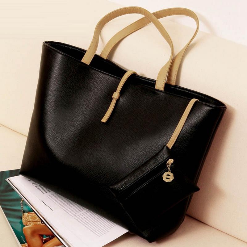 2015 Multicolor PU Leather Bucket Bag Women Shoulder Bag Cheap Designer Handbag Large Tote Bag Shopping Bags L227(China (Mainland))