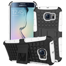 Heavy Duty Cover Hard Silicone Armor Case For Samsung Galaxy S6 edge Compact Shock Absorbing Cover Stand Hard Phone Case bags