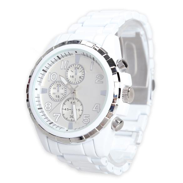 Hot Tungsten Steel Wrist Watch Men's Business Analog Quartz Wristwatch White Band Sliver Ring BS88(China (Mainland))