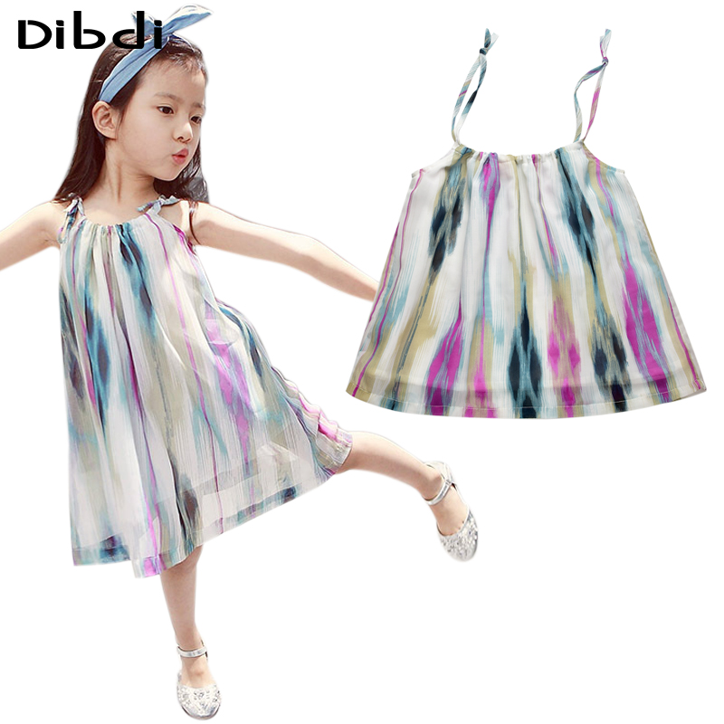 Chiffon Girl Dress Kids Beach Wear 2016 New Girls Sundress Multi Color Sling Children Dress Princess Girl Dress For 2~7Y CA373(China (Mainland))