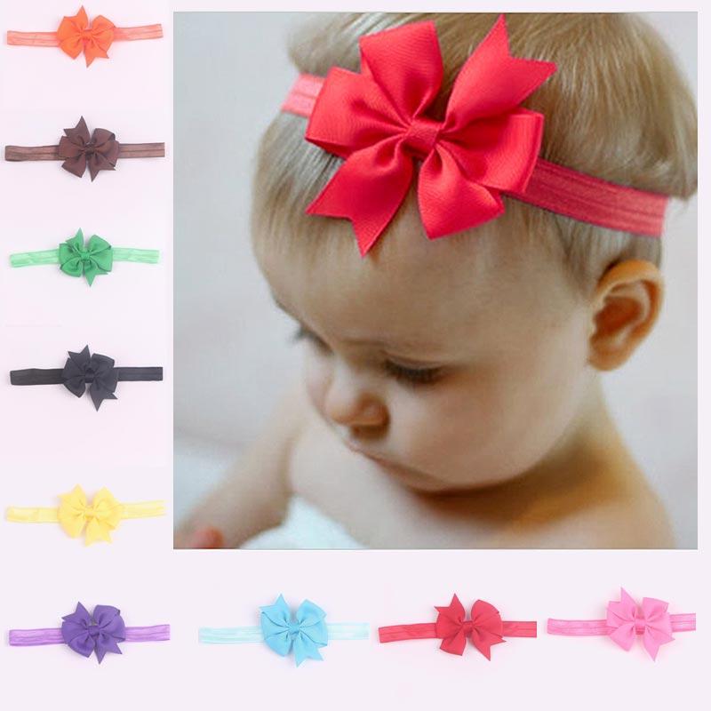 baby girl kids elastics hair head bands flower satin ribbon bows accessories for newborns hair wrap hairband headwear FD00408(China (Mainland))