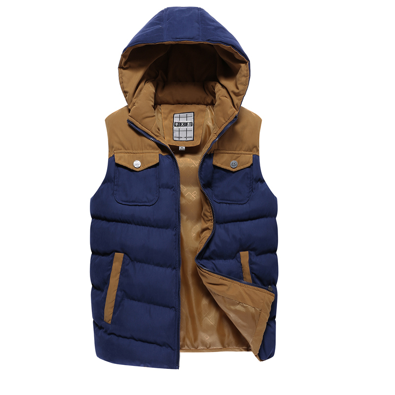 High Quality Brand Mens Hooded Down Cotton Vest Sports ...