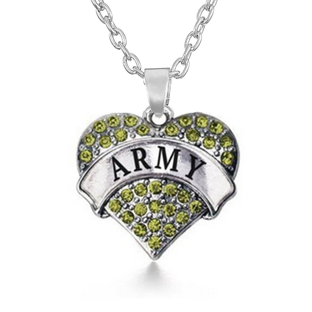 Fire Fighter Air Force Army Mom Police Policeman Crystal Heart Pendant Necklace Silver Plated Military Family Jewelry for Women(China (Mainland))