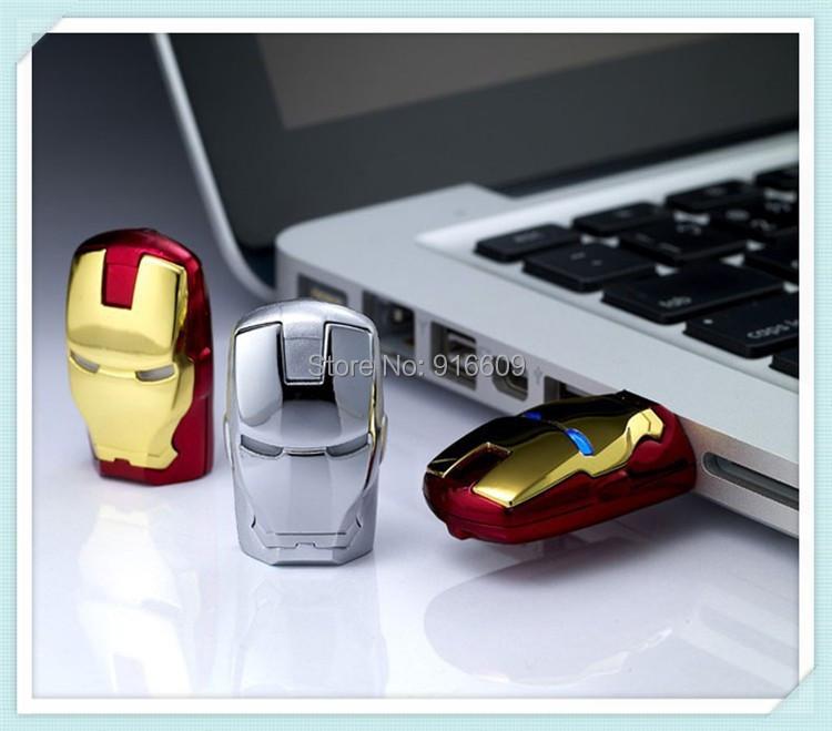 W14 Real capacity Avengers Iron Man Metal usb flash drive 4GB 8GB 16GB 32GB USB 2.0 Flash Memory Stick Drive pen drive(China (Mainland))