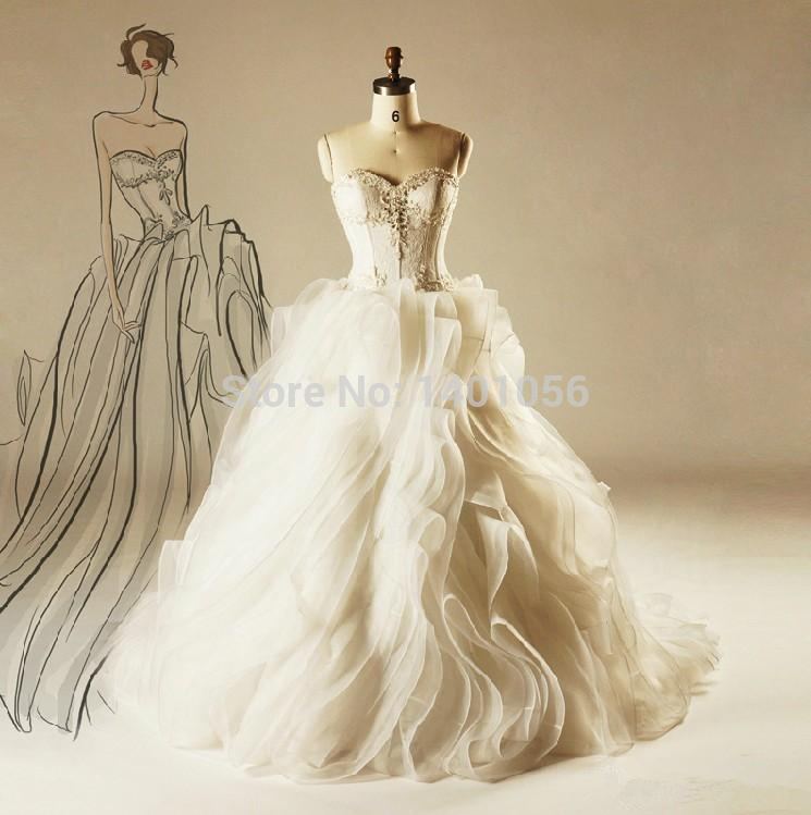 Modest real photo vestidos de vovia puffy ball gown beaded for Puffy wedding dresses with diamonds
