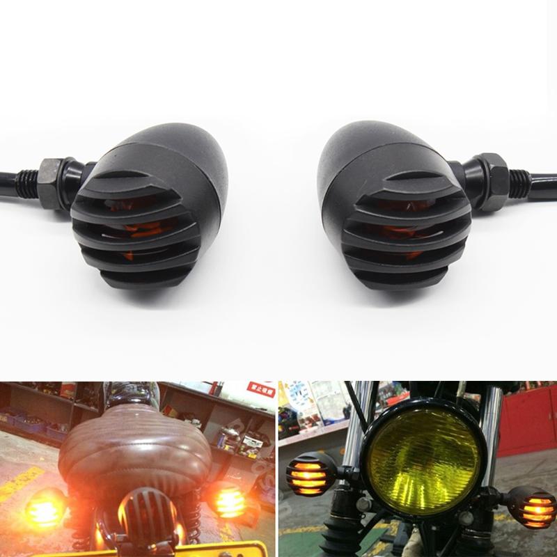 4X Metal Bullet Black Amber Bulb Motorcycle Turn Signal Light For Harley Bobber Chopper Custom Honda Yamaha Kawasaki Suzuki BMW
