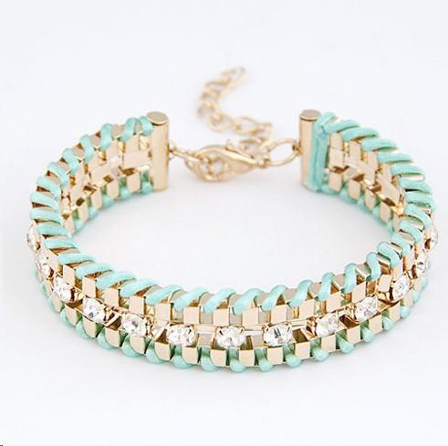 B312 New 2014 Fancy Brand Bracelets Women Jewelry Gift 18K Real Gold Plated hand-woven Rhinestone Chain Bracelets & Bangles!724(China (Mainland))