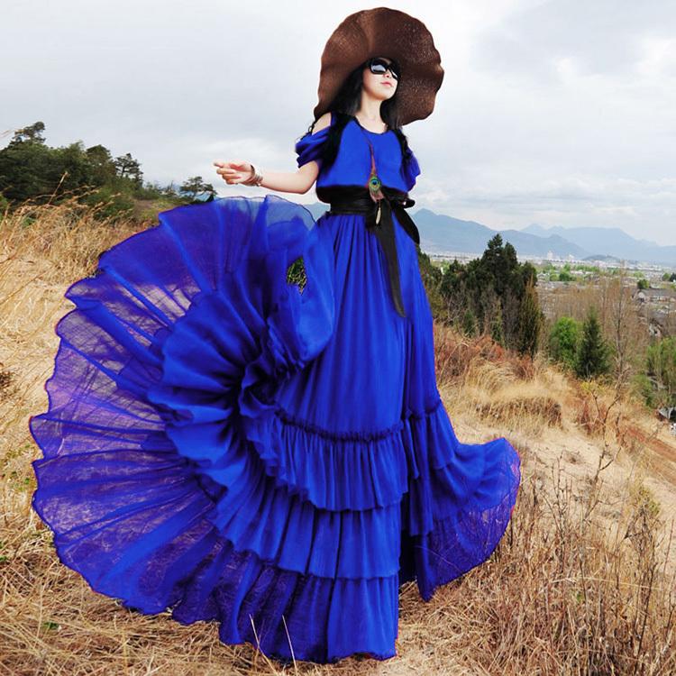 Original 2015 New fashion women's summer short sleeve chiffon dress bohemian pleated dress solid color slim long blue dress(China (Mainland))