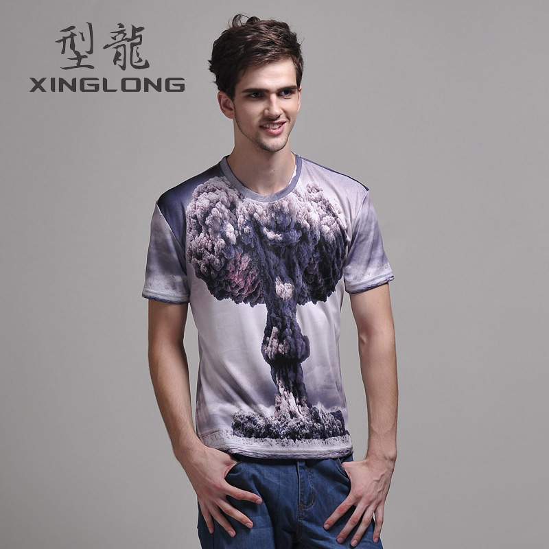 summer men's Atomic 3D printing T shirt, creative fashion hoody short sleeve(China (Mainland))