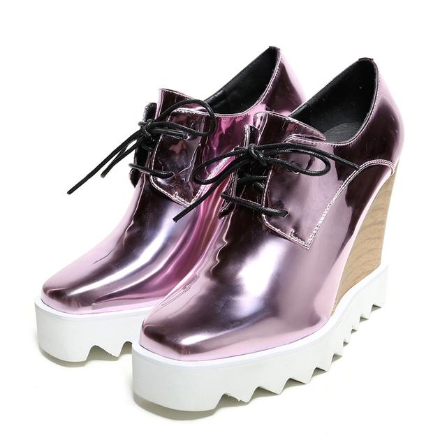 Микрофибры квадратных ног свободного покроя на шнуровке женская обувь танкетке платформа весна осень обувь размеры 22 см - 24.5 см