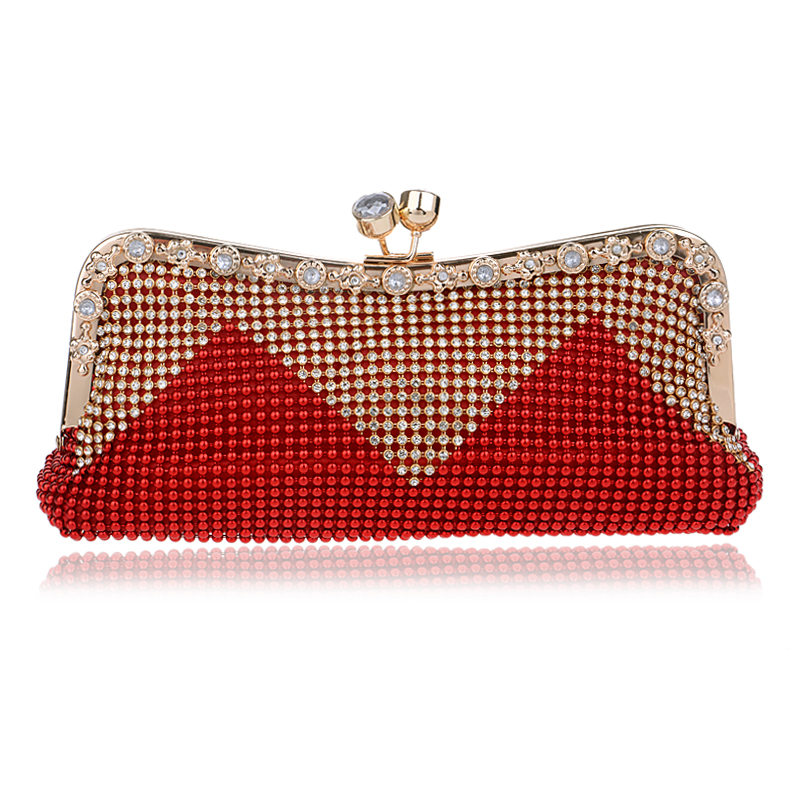 Women Clutch Bags Beaded Evening Bags Pearl Diamonds Golden Handbags Wedding Bridesmaids Bridal Party Feast Bag With Chains(China (Mainland))