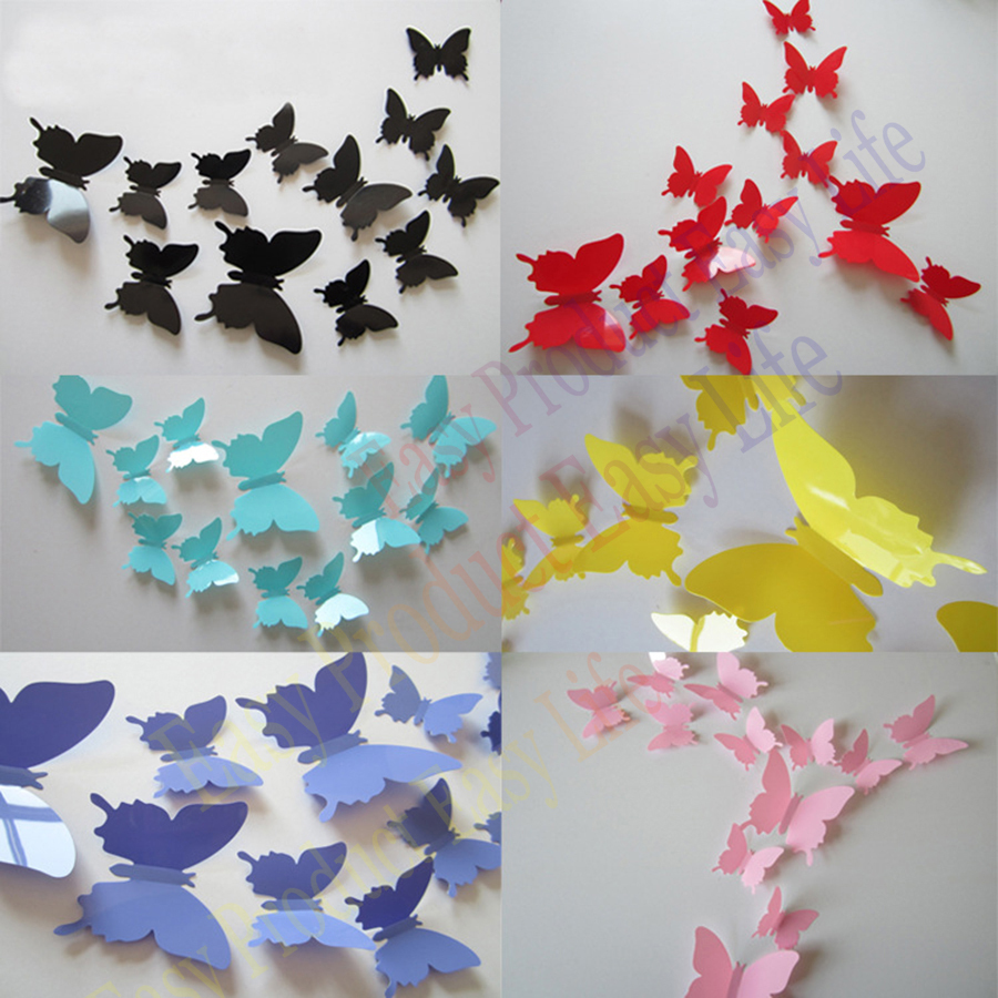 2015 Fashion Cute 12pcs PVC 3d Butterfly wall sticker decor Butterflies art Decal stickers on the