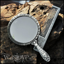 Free shipping Egyptian European retro portable small mirror Cosmetic mirror / comb Valentine gift ideas birthday gift(China (Mainland))