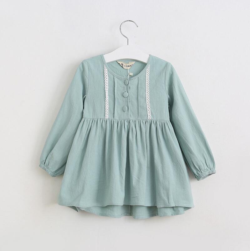 Baby Girls Cotton Lace Blouse Dresses, Princess Kids Fall Elegant Long Sleeve Dress Wholesale 6 pcs/lot,(China (Mainland))