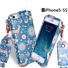 For Apple iPhone 5 5S SE Painted Pattern Lanyard Strap Rope PU Leather Mobile Phone Protective Bag Cover Case + free gift