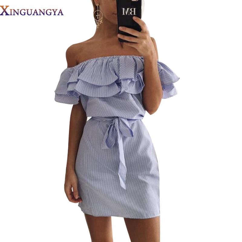XINGUANGYA 2017 Summer Girls Bandage Striped Party Dress Sexy Cute Ruffles Shoulder-Off Mini Dress Women Striped Dresses Vestido