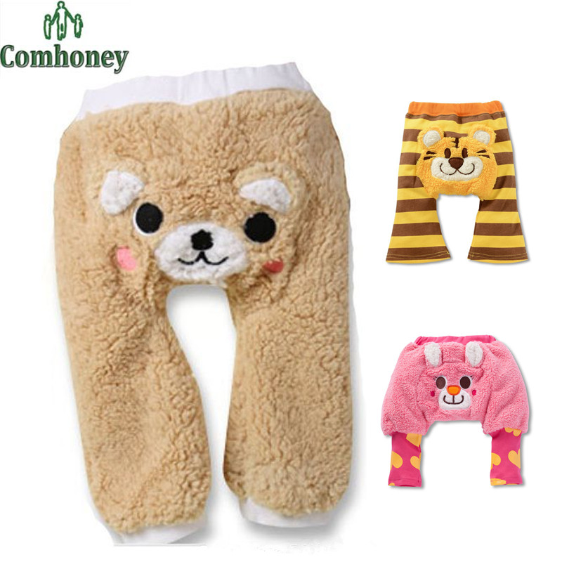 Infant Leggings Cartoon Bear Tiger Girls Boys Leggings Kawaii Baby PP Pants Coral Fleece Warm Elastic Trousers For Toddlers(China (Mainland))