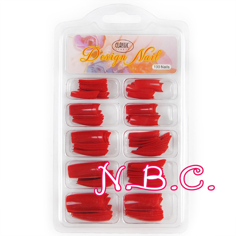 Wholesale- Spain Dispatch 100 pc/box Hot Dark Red Red Nail Tips ...