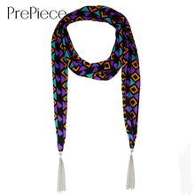 PrePiece 2016 New Fashion Soft Chiffon Printed Tartan Scarves Tassel Necklace Jersey Scarf Bohemian Jewelry for Women PSN0082