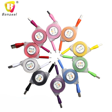 Colorful Retractable LED Light Micro USB Cable with Smile Face Sync Charging Cable Cord Wire For iPhone 6  and Andriod Phone(China (Mainland))